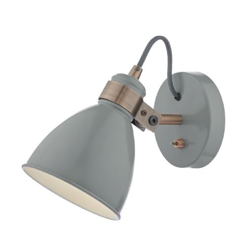 Frederick 1 Light Wall Light Gloss Grey/ Copper
